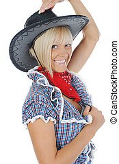Young beauti cowgirl. - Blonde beauti cowgirl. Isolated on...