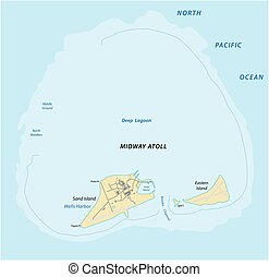 Map of the Midway Atoll in the Northern Pacific Ocean -...