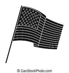 Flag of the United States icon in black style isolated on white background. USA country symbol stock bitmap,raster illustration.