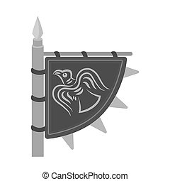 Viking's flag icon in monochrome style isolated on white...