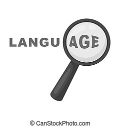 Learning foreign language icon in monochrome style isolated...