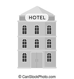 Hotel building icon in monochrome style isolated on white...