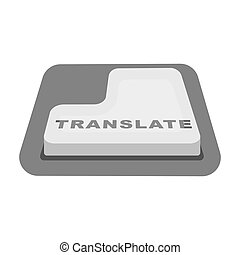 Translate button icon in monochrome style isolated on white...