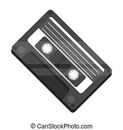 Audio cassette icon in monochrome style isolated on white...