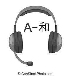 Headphones with translator icon in monochrome style isolated...