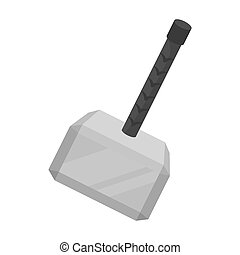 Viking battle hammer icon in monochrome style isolated on...
