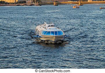 Meteor speedboat floats on Neva river Saint Petersburg...