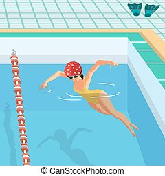 Young woman in sports swimsuit swims in the pool front butterfly style. Flat cartoon vector illustration