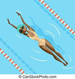 Young black woman in sports swimsuit swims in the pool at the backstroke. Flat cartoon vector illustration