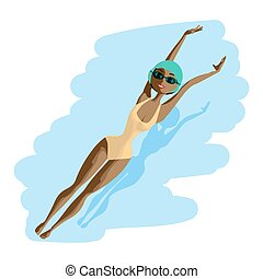 Young black woman in sports swimsuit swims in the pool at the backstroke. Flat cartoon isolated vector illustration