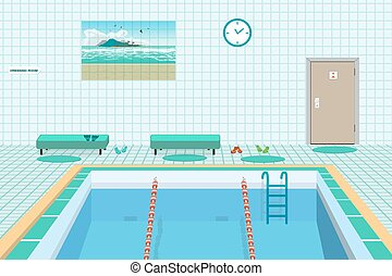 Public swimming pool inside with blue water. Flat cartoon...