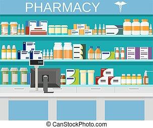 Modern interior pharmacy and drugstore. pharmacy shelves...