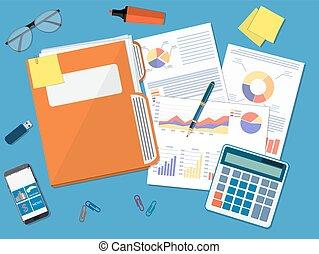 Business document concept. documents folder, financial...