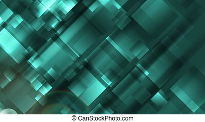 Abstract turquoise tech geometric squares video clip