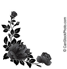 Angular flower pattern, rose - Decorative black and white...