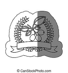 monochrome sticker with olive crown with ribbon and coffee...