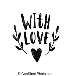 With love. Black silhouette.