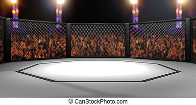 3D Rendered Illustration of an MMA, mixed martial arts,...