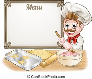 Baker or Pastry Chef Menu Sign - Baker or pastry chef...