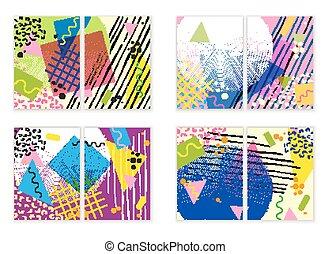 Colorful trendy Neo Memphis geometric poster set. Retro...