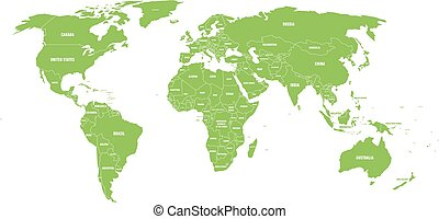 Green political World map with country borders and white state name labels. Hand drawn simplified vector illustration