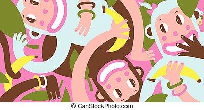 Three Amusing Monkey Graphic Background