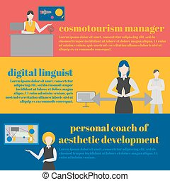 Future professions set. Futuristic occupation. Art Teacher, Paint Instructor or Trainer. Personal woman couch of art. Cosmo tourism manager. Digital linguist.