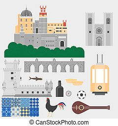 Travel landmark Portugal elements. Flat architecture and...