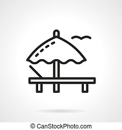 Parasol and sunbed simple line vector icon - Symbol of beach...