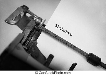 Old typewriter - Zimbabwe - Inscription made by vintage...