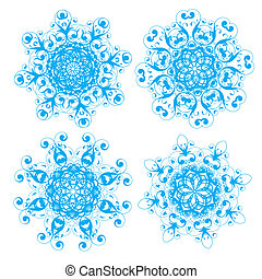 Snowflakes - Vector illustration of abstract floral and...