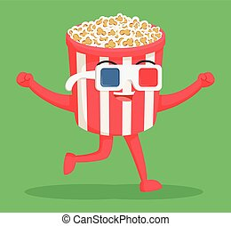 popcorn character wearing 3d glasses