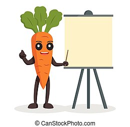 carrot character with blank presentation board