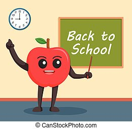 red apple character in classroom