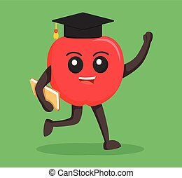 red apple character with graduation hat