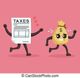 money sack character escaping from taxes