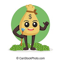 money sack character with his wealth