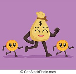 money sack character followed by coins