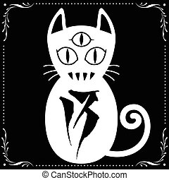 3 Eyed White Cat N0.13 with Floral frame Ornament vector for...