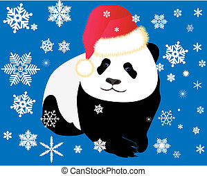 Panda dressed in a red cap on a dark blue background