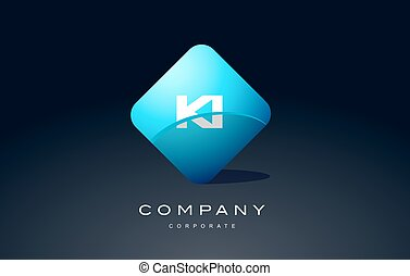 ki alphabet blue hexagon letter logo vector icon design - ki...