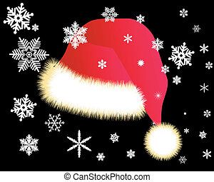 Red cap with white snowflakes on a black background