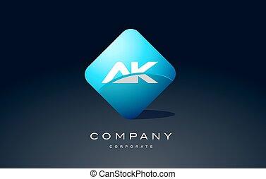ak alphabet blue hexagon letter logo vector icon design - ak...