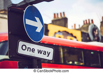 One way traffic sign - One way road sign at the street of...