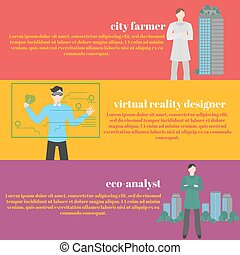 Future professions set. Futuristic occupation. Man with VR headset. Designer Virtual reality for education and games. Eco-analyst. Ecology of sity analysis. Future and people concept. City farmer.