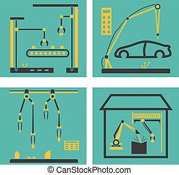 Conveyor manufacturing with robot arms. Robots hands packaging and electronic assembly factory vector illustration