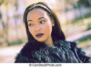 Portrait of young black woman - Portrait of young pretty...
