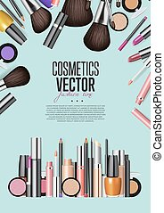 Cosmetic Products Assortment Realism Vector Banner -...