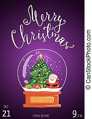 Merry Christmas Poster for Holiday Party Promo - Christmas...