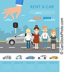 Rent a car template with hand holding auto key